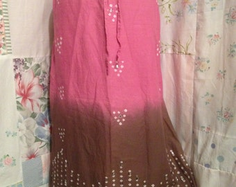 SMALL, Skirt, Cotton Bohemian Hippie Boho  Sequin Pink and Brown Skirt