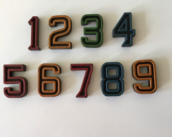 Vintage 3-D Alphabet Numbers Two Sided Standing Sold as Set Black with Outlined Color / Number Blocks