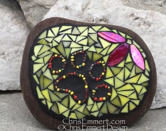 Iridescent Red Flower w/Yellow, Black Paw Print - Garden Stone, Pet Memorial, Garden Decor'