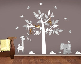 """jungle Monkey decal,Hanging Monkey,Decals for Nursery,monkey on vine, jungle wall sticker, chevron leaves,white tree decal - 91.50"""" x 72.75"""""""