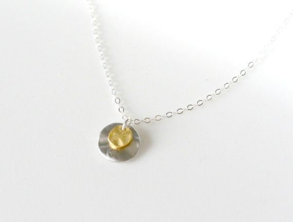 Two Disc Necklace, Mixed Metal Necklace, SILVER and GOLD - Perfect Everyday Casual Wear,Friend Gift, Sister, Best Friend