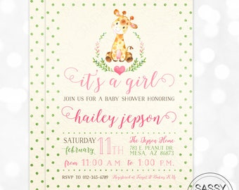 Giraffe Girl Baby Shower Invitation Baby Girl Invite Watercolor Giraffe Baby Shower Invite Polka Dot DIY Printable Invite PDF (#182)