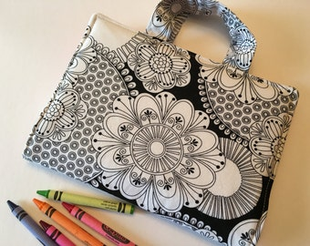 Travel Art Case - Crayon Travel Organizer - Kids Crayon Case - Floral Sketch Art Travel Case
