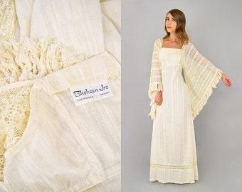 70's ALFRED SHAHEEN Bohemian Wedding Dress