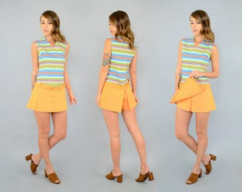 60's Striped Skorts Romper