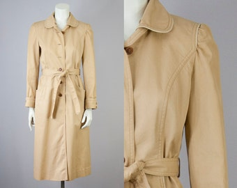 70s Vintage Tan Rain Coat with Puff Sleeves (XS, S)