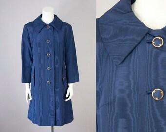 60s Vintage Blue Wavy Rain Coat (M)