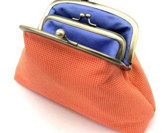 Orange Blue Kiss Lock Coin Purse Wallet Clutch Gift for her Cotton Gold Metal Double Frame