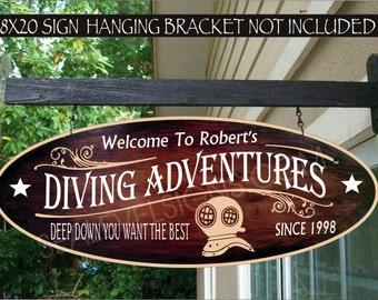 DIVING HELMET Scuba Diver Deep Sea Gift Aluminum Custom Personalized Sign