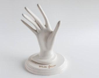 Vintage Ceramic Hand Jewelry Display Holder Hand Made White Pottery Mid Century