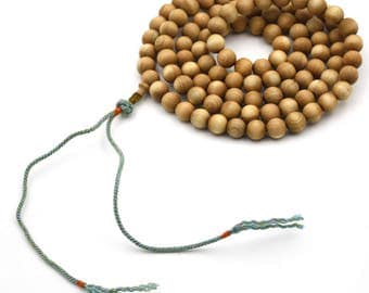 Tibetan Buddhist 108 8mm x 8mm Wood Prayer Beads Mala Necklace  YB010