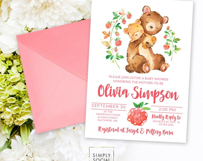 Teddy Bear Baby Shower Invitation - Mother and Baby Bear Shower Invitation Watercolor Hugging Floral Forest Friends Printable Invitation