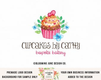 cupcake logo bakery logo bakers logo baking logo baking blog logo premade logo watercolor logo cafe logo home baking logo food blog logo