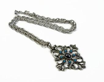 Avon Mirabella Pendant Necklace, Faux Turquoise, Hematite, 1974 Avon, Vintage Jewelry, Silver Tone, 24 Inch, Avon Jewelry, 1970s Jewelry