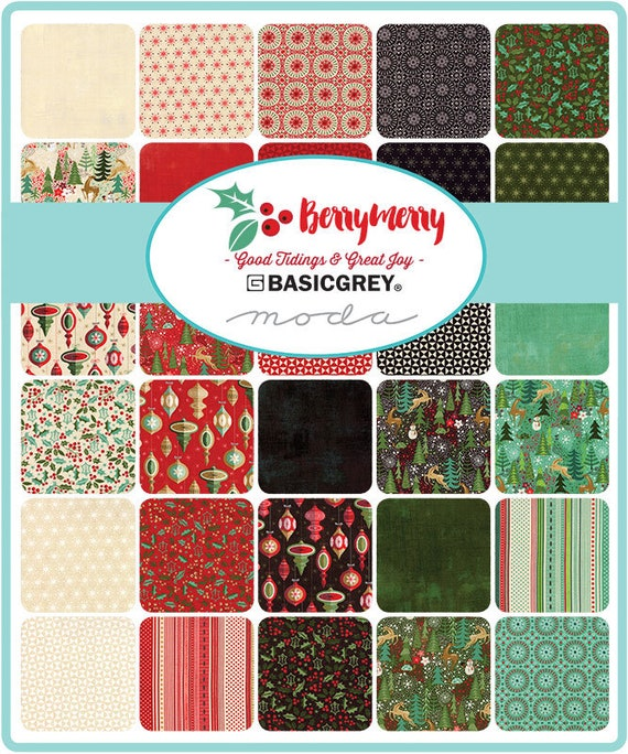 Moda Berry Merry Jelly Roll by Basic Grey Fabric Strips- Christmas ...