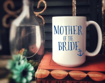 Mother of the Bride, Mother of the Groom, Ceramic Mug, Customized for free, Bridal Party Gift, Wreath with initial, Brides Maid