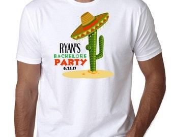 Sombrero Bachelor Party T Shirt , Cactus,  Mexican Bash, Groomsman, Mexico, Cinco