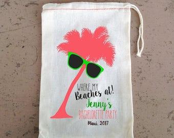Where My Beaches At Palm Tree Sunglasses -Beach Bachelorette Favor - Wedding Welcome Favor Bag