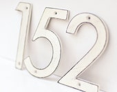 White Distressed Aluminum House Numbers