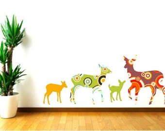 Deer wall decals, Deer decor, Woodland animals, Nursery decals, Forest animal decals, Kids wall decals, girls room decor, playroom  decor