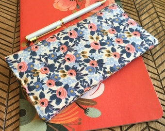 Checkbook Cover. Wallet. Receipt Holder. Rosa Periwinkle. Les Fleurs.