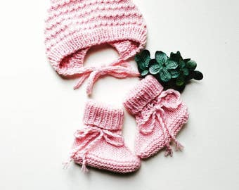 Pink Bonnet and Boots Newborn Set