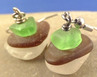 Simple stacked sea glass earrings, green brown and white glass, silver plated, surgical steel hypoallergenic