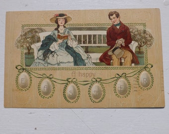 Antique Germany Easter postcard Easter egg garland, romantic couple courting couple Victorian lady and gentleman on bench