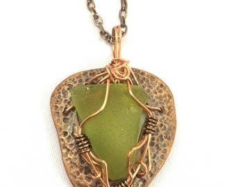 ON SALE Olive green beach glass wire wrapped on hammered copper sea glass precious metal clay copper