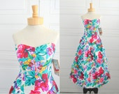 1980s-does-1950s Brittany Nicole White Floral Dress