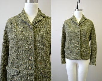 1950s Olive Green Wool Tweed Jacket
