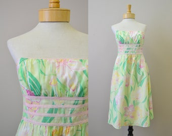 1990s Lilly Pulitzer Strapless Floral Mini Dress