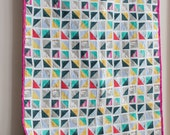 Whole-cloth Modern Half Square Triangle Lap Quilt