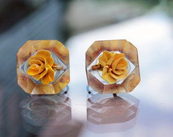 Lucite Earrings with Yellow Roses, ca. 1950s