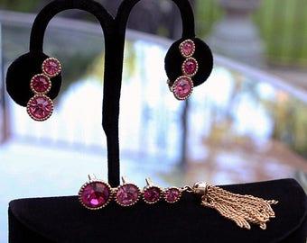 Sarah Coventry Pert 'N Saucy Pink Rhinestone Brooch and Earrings