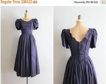 SPRING SALE vintage Laura Ashley cotton lawn dress - navy blue tea dress / Laura Ashley dress - tea length & puff sleeves / navy bridesmaid
