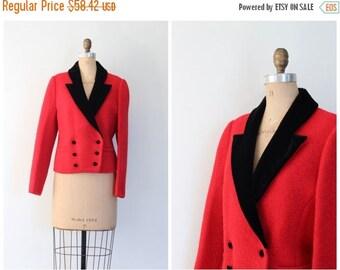 30% SALE / bright red boiled wool jacket - 80s cropped blazer - black velvet collar / fox hunt jacket - equestrian style jacket / vintage la