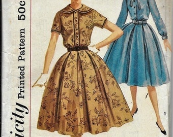 50s Vtg Dress Pleated Skirt n Accessories Simplicity Pattern 2683 Bust 36