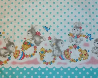 EASTER Bunny Fabric - Bunnies -  Flowers - Chicks - Eggs - Birds - Retro - Vintage Look - Very Hard To Find - Out Of Print