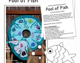 """Chicken Soup Designs: """"Pool of Fish"""" Decorative Wall Hanging, Baby Quilt, Tree Skirt (40"""" in diameter)"""