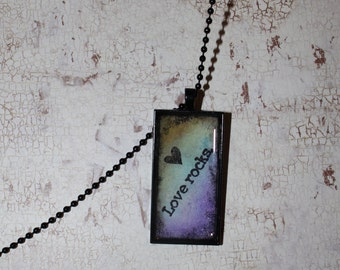 Love Necklace, Heart Necklace, Pendent Tray, Black Necklace, Valentines Day, Grunge Jewelry, Retro Necklace, Resin Jewelry, Anniversary Gift