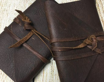 Petite distressed leather journal