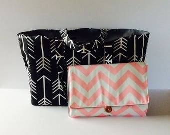 MADE TO ORDER Arrow Diaper Bag Set, All-in-One diaper clutch and changing pad, custom colors