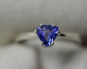 Tanzanite Ring, 0.52 Carat Genuine Tanzanite Solitaire Ring Appraised At 286.00, Sterling Silver, Genuine Tanzanite Trillion Cut, Certified