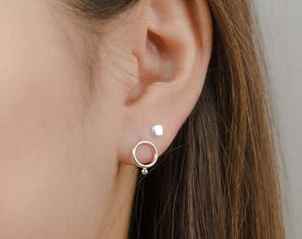 Circle Bubble Stud Earrings, Sterling Silver, Gold Plated, Circle Stud Earrings, Geometric Jewelry,  Gift , Lunaijewelry, STD078