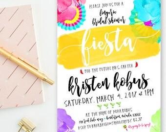 Pink, Yellow, Blue & Purple Watercolor -  Fancy Fiesta - Wedding, Lingerie, Bridal Shower Invitations