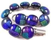 "Dichroic Bracelet - Blue Green Purple Sapphire Teal Violet Emerald Dicro Patchwork Patterned - Fused Glass 1/2"" 13mm Nuggets"