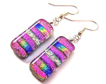 Dichroic Earrings - Tie Dye Dangle Pink Magenta Blue Gold Rainbow Striped Tie Dye Fused Glass - Surgical Steel French Convert to Clip On