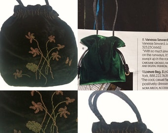 Black Silk Velvet Edwardian Purse - Circa 1900's