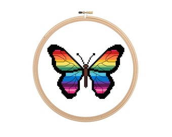 Rainbow Butterfly Small Cross Stitch Pattern Chart Instant Download PDF